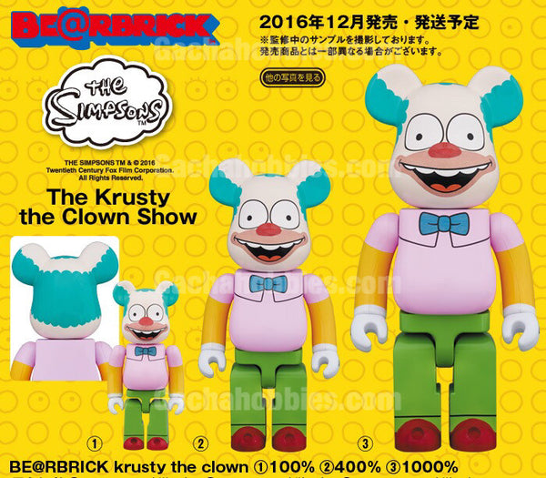 BE@RBRICK krusty the clown 100%,400%, 1000% (Pre-Order)