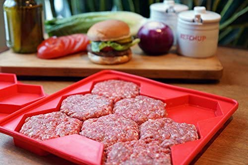 Burger Master 8-in-1 Innovative Burger Press, 8-Patty, Red