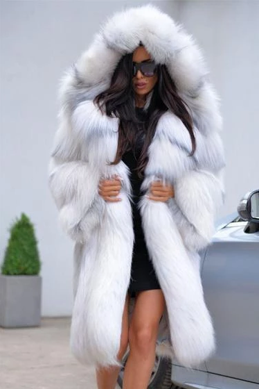 Silver Chinchilla Hood Fur Coat