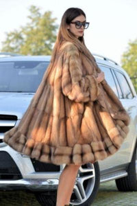 New Natural Cosy Sable Fur Coat
