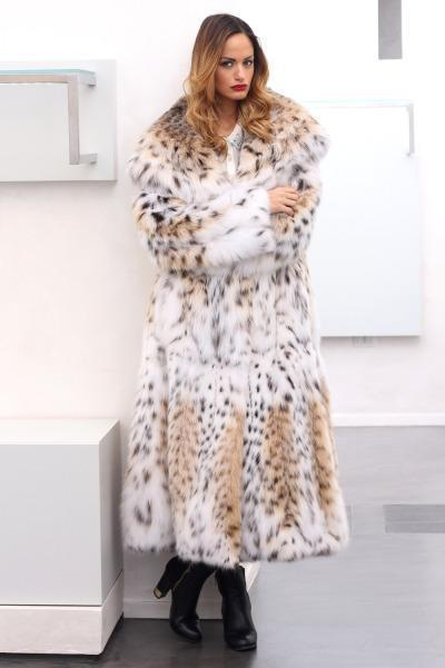 Leopard Long Hood Fur Coat