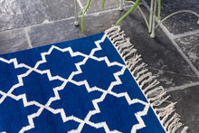 Load image into Gallery viewer, Classic blue dhurrie rug