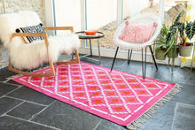 Load image into Gallery viewer, Cerise Pink Dhurrie Rug