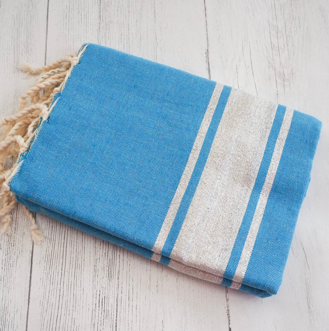 Hammam towel / throw - Blue and Silver