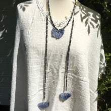 Load image into Gallery viewer, Long blue bead and tassel necklace