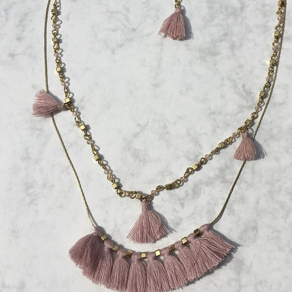 Double layer dusky pink necklace