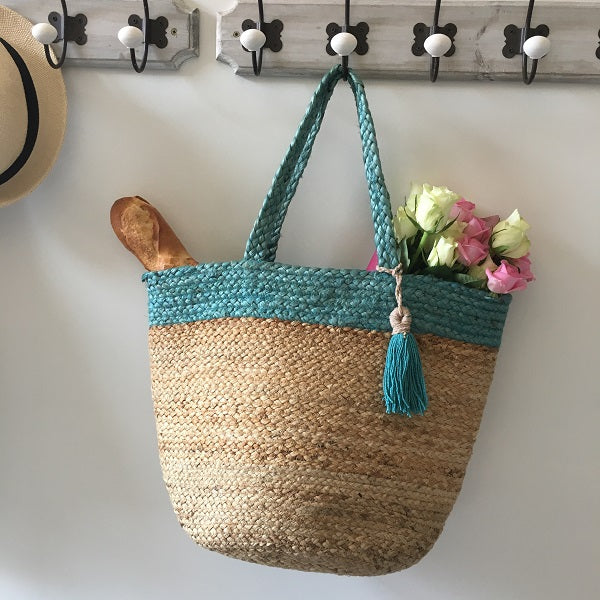 Blue topped basket bag