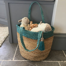 Load image into Gallery viewer, Blue topped basket bag