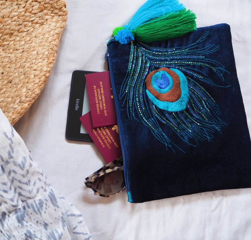 Velvet Peacock pouch bag