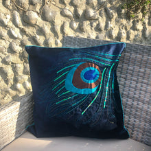 Load image into Gallery viewer, Velvet peacock cushion