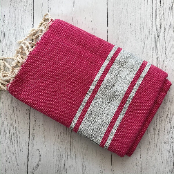 Hammam towel / throw - Pink and Silver