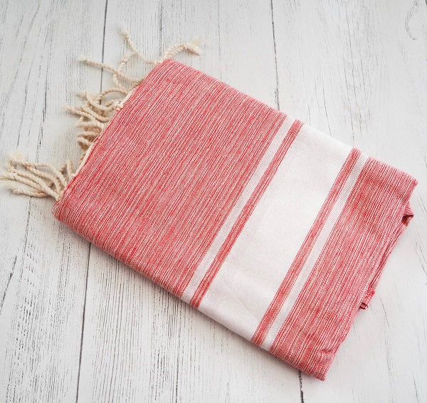 Hammam towel / throw - Red Marl
