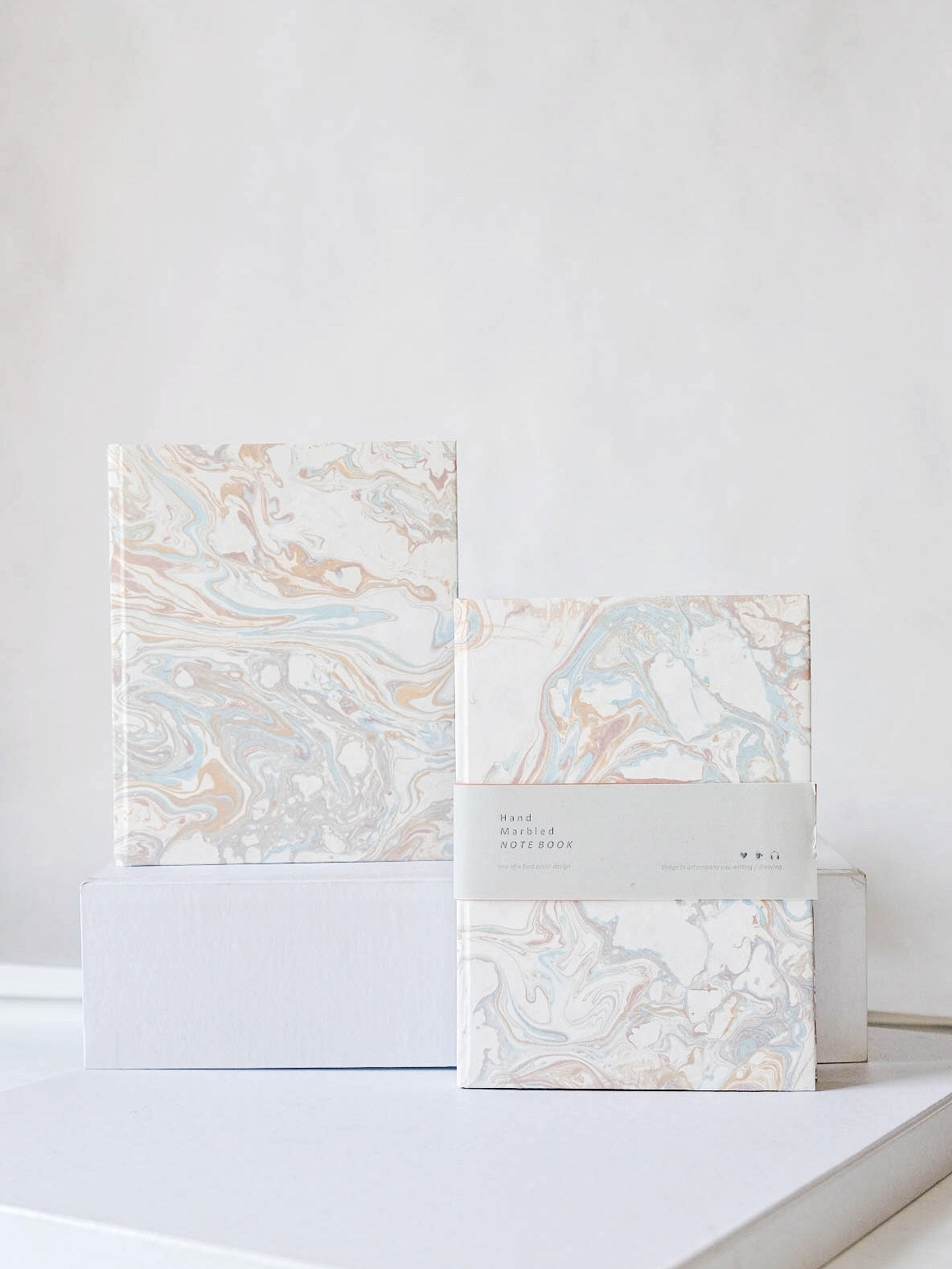Airy Summer Hand-Marbled Notebook