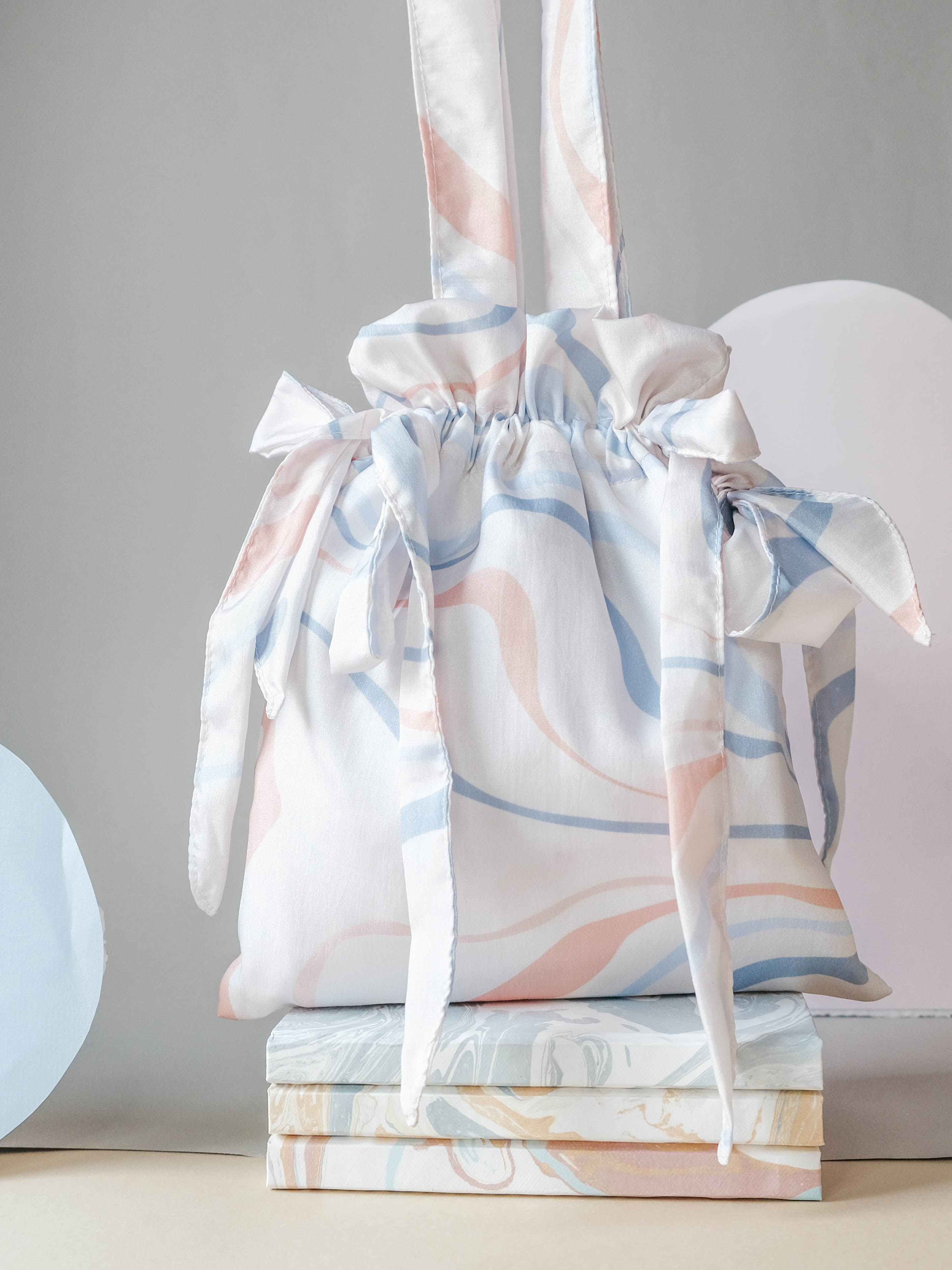 Drawstring Sling Bag in Creamy Peach
