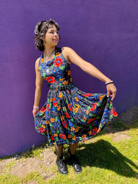 VINTAGE FLORAL TWIRL DRESS