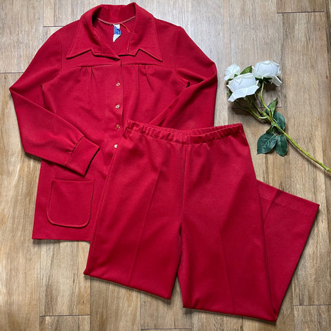 VINTAGE RED TWO-PIECE SET