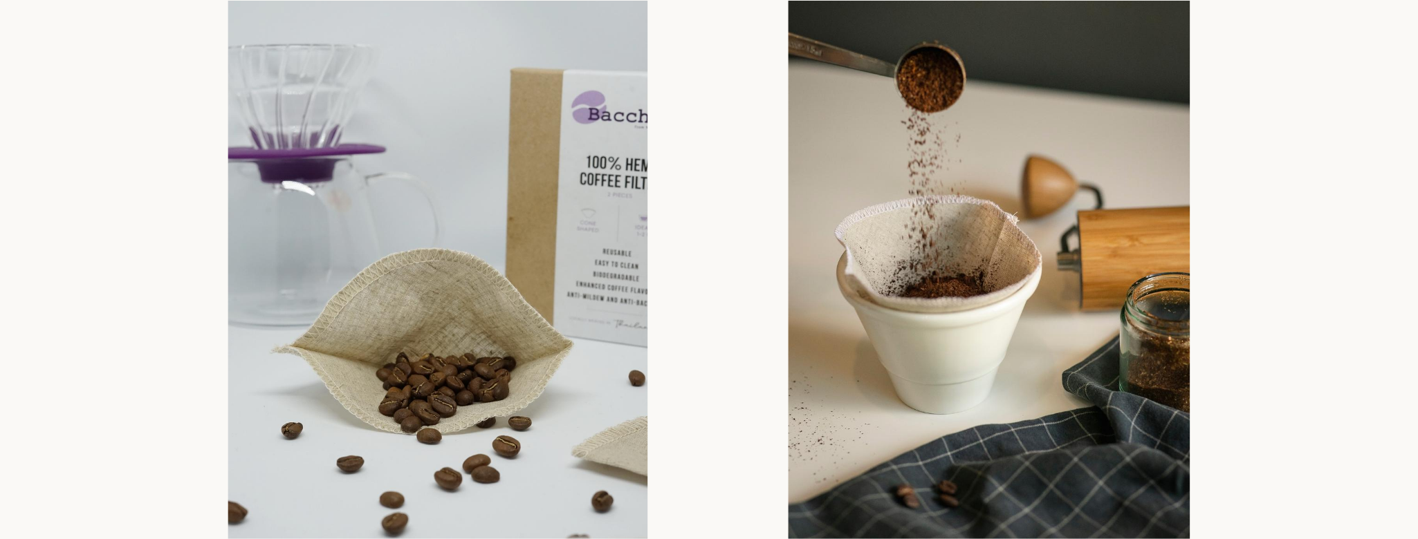 Bacchus 100% Hemp coffee filter suitable for kalita 1010 and Hario V60 01. Hemp coffee filter is a durable reusable filter that will last over 6 months with a proper care. The material is biodegradable and anti-mildew