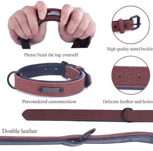 Premium Leather Custom-Engraved Dog Collar