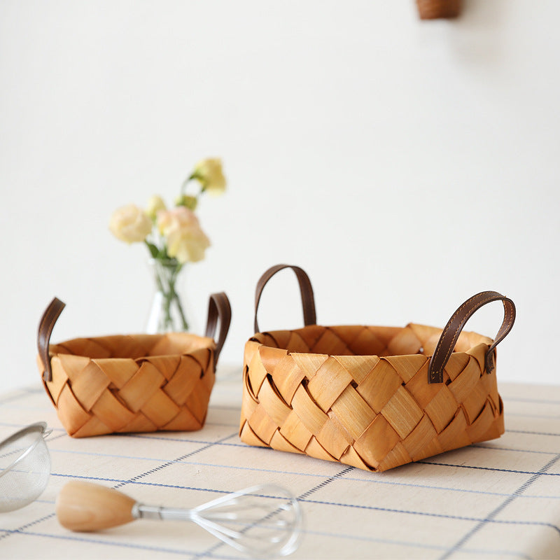 Assorted Wood Chip Handled Basket