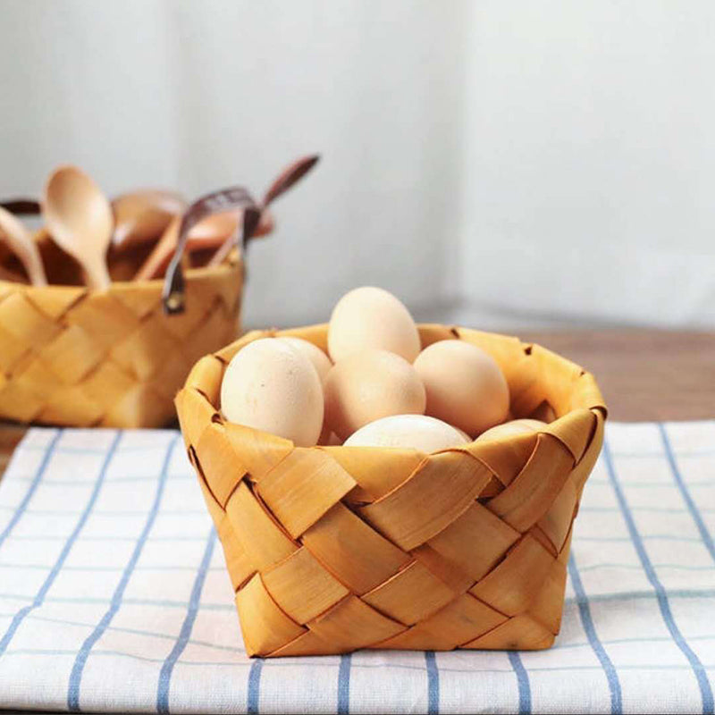 Assorted Wood Chip Round Basket