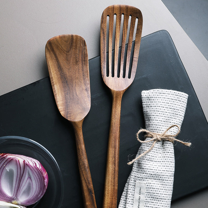 Natural Teak Long Handle Spatula