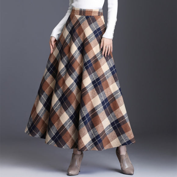HAYBLST Brand Skirt Womens 2019Autumn Winter Plus Size3XL Elegant Korean Style Fashion Plaid Tall Waist Long Clothing Thickening
