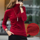 Turtleneck Velvet Fleece T shirt Women Solid Tops Stretchy Long Sleeve Plus Size S-4XL Spring Autumn T-shirt Bottoming T90394