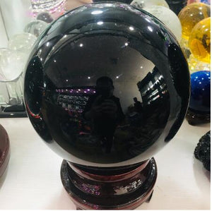50-200mm Natural Black Obsidian Sphere Large Crystal Ball - HYM Store