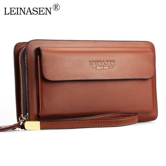 LEINASEN Brand Men Wallets with coin pocket zipper Double Zipper Male Wallet long Large - HYM Store
