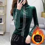 Fashion Sexy Shiny Patchwork Diamonds Beading T-shirt New Autumn Winter Top Clothes With Fleece Shirt Camiseta Mujer Tees T9N706