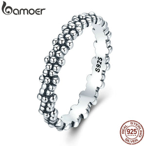 BAMOER Authentic 925 Sterling Silver Stackable Ring Daisies Flower Finger Rings - HYM Store