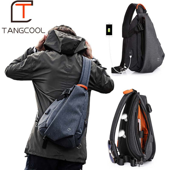 Tangcool Multifunction Fashion Men Crossbody Bags USB Charging Chest Pack Short Trip Messengers Bag - HYM Store