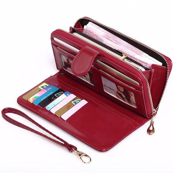 2020 New Women Oil Wax Leather Wallet Female Purses Big Capacity Hasp Zipper Purse