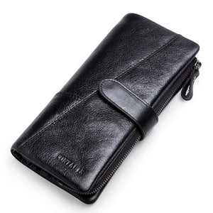 CONTACT'S genuine leather men's long wallet with phone bag zipper coin pocket purse - HYM Store