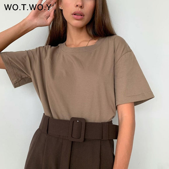 WOTWOY Summer Loose Basic Tee Shirt Women Knitted Cotton Solid T-Shirt Women O-Neck Casual Korean Tops Female Harajuku 2020 New