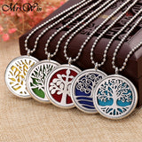 New Tree of Life Aromatherapy Necklace Stainless Steel Open Perfume Locket - HYM Store