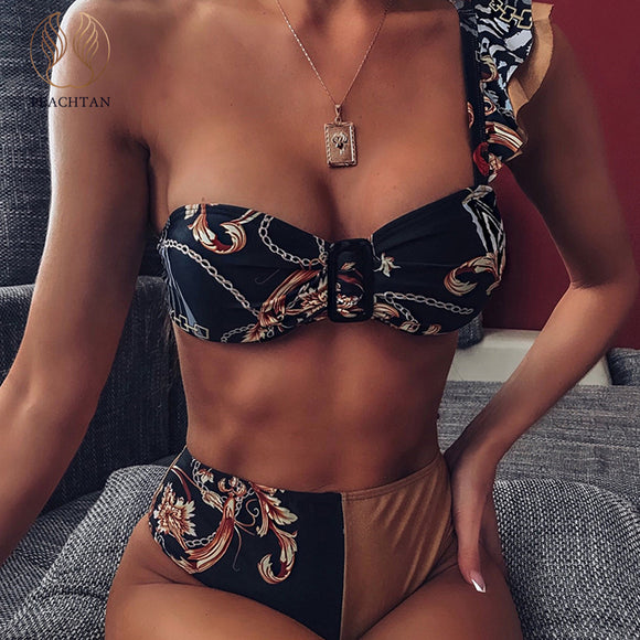 Peachtan Sexy high waist bikini 2020 One shoulder swimsuit - HYM Store
