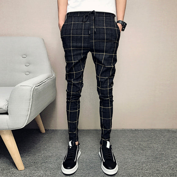 New Pants Men Slim Fit British Plaid Mens Pants - HYM Store