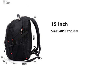 "Crossten 17.3"" Laptop Backpack Waterproof USB Charge Port Swiss Multifunctional Rucksacks - HYM Store"