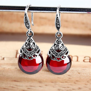 JIASHUNTAI Retro 100% 925 Sterling Silver Round Garnet Drop Earrings - HYM Store