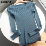 2020 basic v-neck solid autumn winter Sweater Pullover Women Female Knitted sweater slim long sleeve badycon sweater cheap