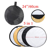 "24"" 60cm reflector 5 in 1 Collapsible Light Round Photography White Silivery Reflector"