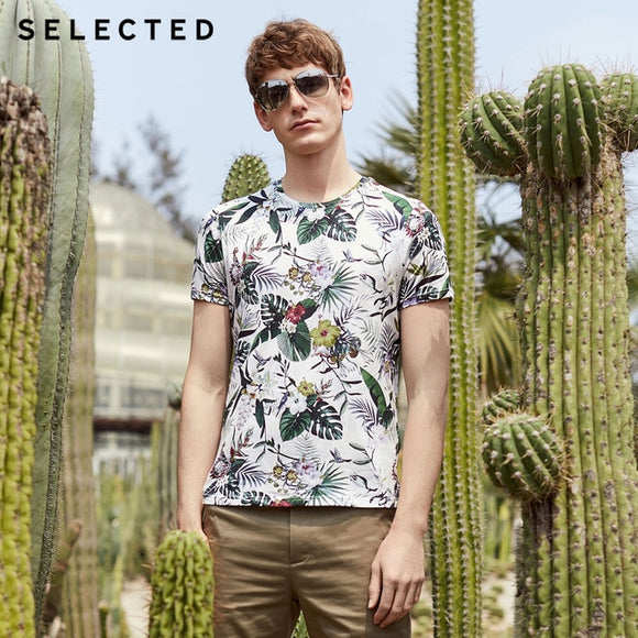 SELECTED Men's Summer 100% Cotton Printed Short-sleeved T-shirt - HYM Store