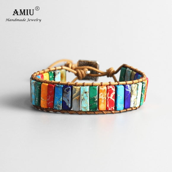 AMIU Handmade 7 Chakra Natural Tube Beads Stone Bracelet Leather Wrap Pierre Naturelle Bangle - HYM Store