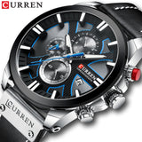CURREN Watch Chronograph Sport Mens Watches Quartz Clock Leather - HYM Store