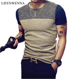 Summer Fashion Men's T Shirt Casual Patchwork Short Sleeve T Shirt - HYM Store