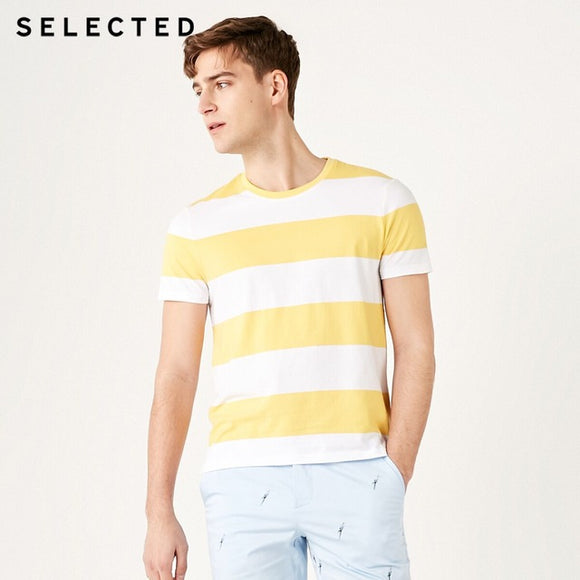 SELECTED Men's Summer 100% Cotton Round Neckline Striped Short-sleeved T-shirt - HYM Store