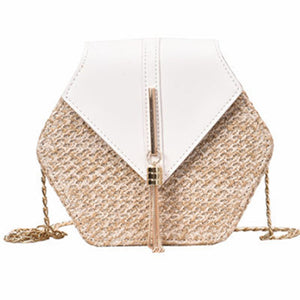 Hexagon Mulit Style Straw+leather Handbag  Rattan Bag Handmade - HYM Store