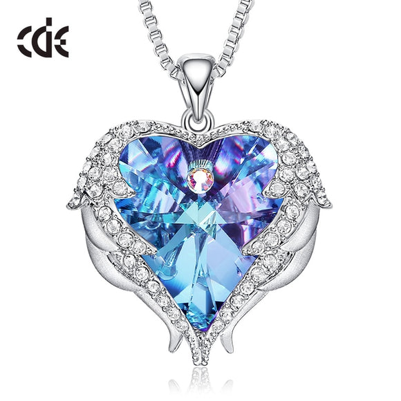 CDE Women Silver Color Necklace Embellished with Crystals from Swarovski Necklace Angel Wings Heart Pendant - HYM Store