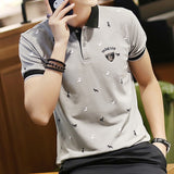 Fashion Summer Short Sleeve Polo Shirt Men Cotton Print Slim Casual Polos - HYM Store